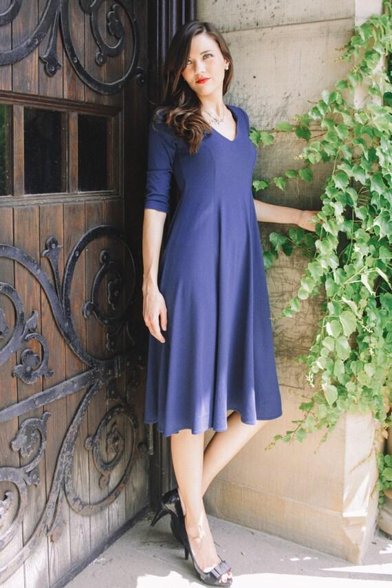 Adèle Classic V-Neck Dress - royal blue dress - midi dress - indigo blue dress  - 3/4 long sleeve dress - day dress - casual dress