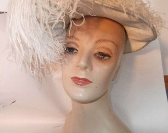 Womens Hat Blue with Large White Feather /Plume-  Womens Hat~ Custom made Gimbel Brothers