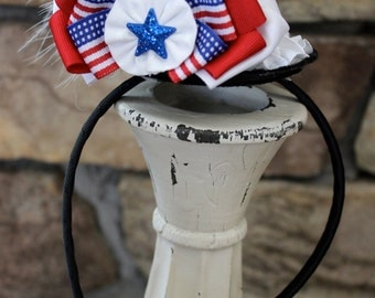 Fourth of July Hat, Independence Day, Patriotic, USA, Red, White and Blue Hat, Mini Top Hat Headband, Patriotic Party