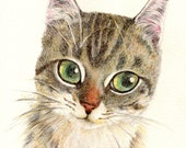 cat art print, A Thinking Cat, cat portrait, cat lover gift, kid's room decor, wall art
