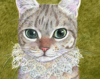 cat art print, a noble cat wearing a ruffled collar, cat in costume drawing, watercolor pencil, cat lover's gift and home decor, A3 print A4