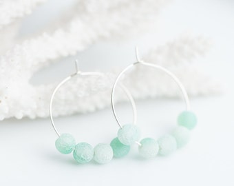 Simple Hoops Earrings Pastel Mint Web Agate Argentium Sterling Silver Modern summer nautical jewelry