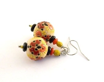 Ladybugs and Flowers Earrings - Golem Studio Earrings - Red Orange Black and Yellow Earrings -Silver Earrings -Wire Earrings -Small - E009