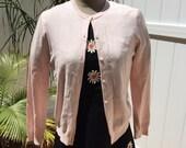 Vintage Brooks Brothers 60s Petal Pink - Super Soft Silk Cotton Cardigan - Size Small