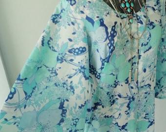 70s dress, vintage maxi dress, vintage blue dress, long blue dress, long hippy dress, long boho dress, long floral dress