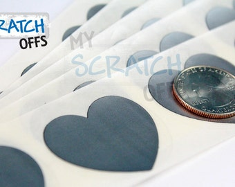 Scratch Off 100 LARGE Silver 1.5 inch Valentine Heart scratch-off labels Plain stickers for wedding save the dates Martha Stewart