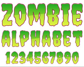Halloween Alphabet Clipart Zombie Letters Clipart Scrapbooking Typography Alphabet Clip Art Green Numbers Digital Text Clipart Comic Clipart