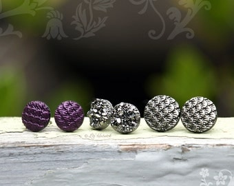 3 Pair Set Dragon Scale and Faux Druzy Stud Earrings - Glitter Studs on Titanium or Stainless Steel Posts - Galaxy Collection
