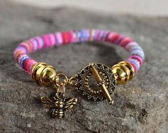 Boho Single Wrap Pink Stripe Charm Bracelet with Bee
