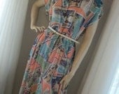 Vintage 1930s Style Sheer Novelty Print Day Dress  Colorful Size Med Exec Cond Very Unique and Cute Orig 1980s Tag