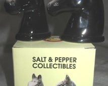Horst Head in Black  ~ Equestrian  Salt & Pepper Shaker  ~ Item 382
