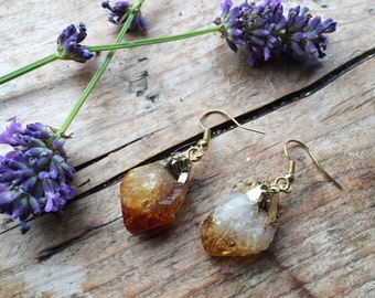 Gold Dipped Citrine Earrings - Natural Raw Rough Points 24K Plated Yellow Orange Quartz Point Unique Chunky