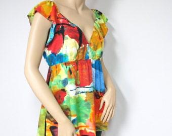 Vintage Blouse Jams World Artist Splash Colorful Women's Top Hawaiian Made Ladies Shirt Size Medium