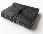 Leather Journal in Black and Mint -Moonlight- Leatherbound Journal Leather Sketchbook Hand Bound Book Leather Travel Notebook Gifts for Her