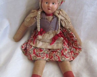 "Vintage 13"" Inch Collectible Cloth Folk Art Doll"