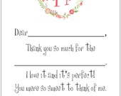 Fill-In Thank You Notes/Monogram + Wreath- set of 12