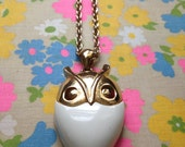 Retro MOD OWL Necklace // Gold and Creamy White GRooVY 60's/70's Owl Necklace