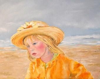 Custom portrait, hand painted, Oil painting, children at play, fantasy portrait, favorite pets, child portrait, Oil on canvas