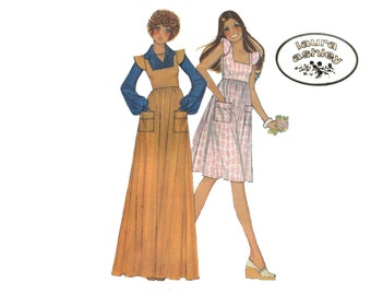 1970s Laura Ashley Dress Pattern Square Neck Dress or Jumper and Blouse Lantern Sleeves Summer McCalls 4549 Bust 32 Vintage Sewing Pattern