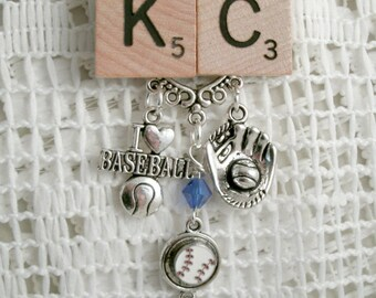 Kansas City Scrabble necklace Blue crystal Charm ScrabbleNecklace I love Baseball Scrabble I love baseball mini floating charm baseball