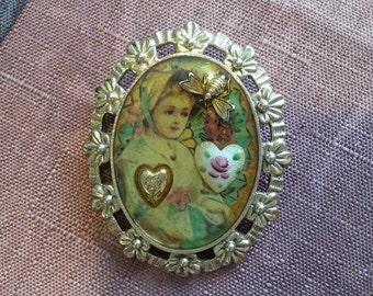 Vintage Heart Bug Girl Brooch