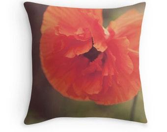 Throw Pillow Case : Orange Poppy Floral Vintage Summer Home Decor