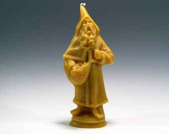 Beeswax Santa Candle Beeswax Belsnickle Candle Cast Using an Antique Chocolate Mold Honey Scented Candle