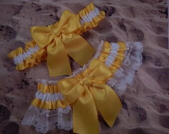 Daffodil Yellow Satin White Lace Wedding Bridal Garter Toss Set