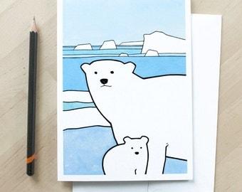 Baby Polar Bear card - baby animal illustration, winter baby congratulations card