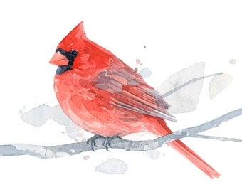 Red Cardinal watercolor art print - 5x7 bird painting