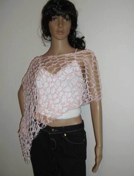 Hand Crochet Sexy Shawl, Open Weave Poncho, Lightweight Summer Hand Crochet Poncho, Asymmetrical poncho, Choose Your Color