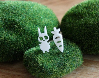 White Bunny & Carrot Earring Studs, Snow Bunny, Rabbit jewellery, Rabbit earrings, mismatched earrings