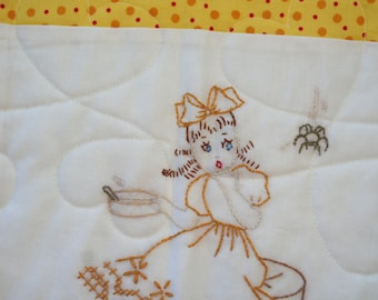 Hand Embroidered Nursery Rhyme Baby Quilt - Yellow & White