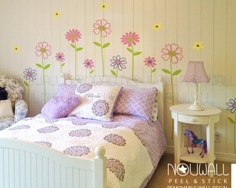 Daisy Garden - Removable Flowers Wall Decal Baby Girl Nursery Wall Sticker Wall Decals