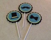 Mustache Cupcake Toppers, Little Man cupcake toppers, Mustache Birthday Supplies, Cupcake toppers