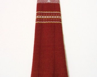 60s Rustic Neck Tie Vtg Red Gold Homespun Tribal Fish