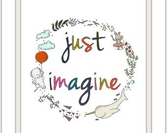 Nursery Word Art -- Just Imagine -- Imagination Word Art -- Kids Play Room Art -- Children's Art Print, Alphabet Art, Alphabet Nursery Art