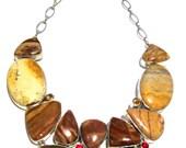 Jasper Citrine & Garnet Statement Necklace * Statement Crystal Gem Bib Necklace