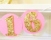 Sweet 16 Garland, Sweet 16 Banner, Sweet 16 Photo Prop, 16th Birthday Banner, Pink Banner, Sweet 16 Decoration, Sweet 16 Party, Gold 16