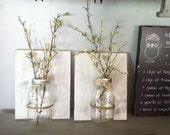 Mason jar wall decor, hanging mason jar wall vase , rustic wall sconces, farmhouse  decor, set of 2 wall vases