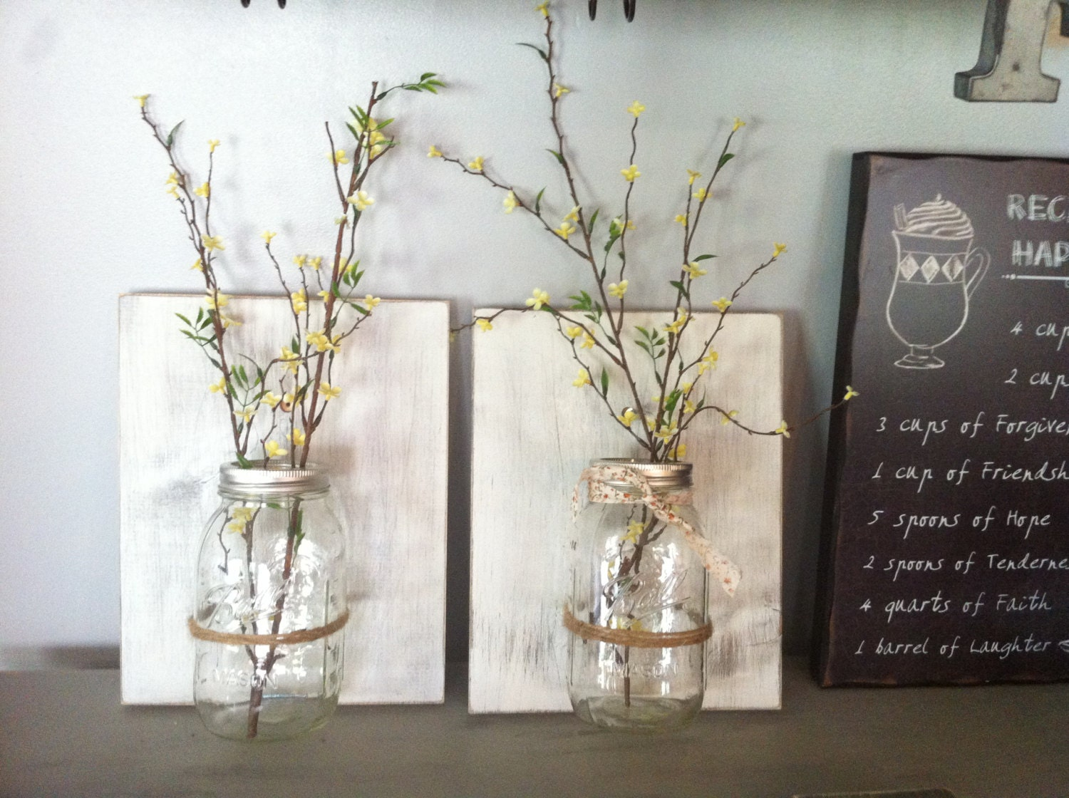 Wall Decor With Mason Jars : Mason jar wall decor hanging vase by
