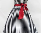 Black  White Striped Dress Lolita Steampunk Sailor 50s Petticoat Circus