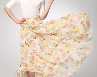 maxi floral skirt, Yellow chiffon skirt maxi skirt women long skirt (1275)