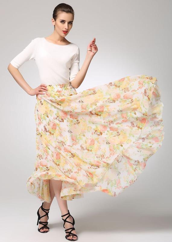 maxi floral skirt yellow chiffon skirt maxi skirt