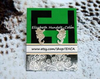 Handmade Sterling Silver Little Seahorse Post Earrings