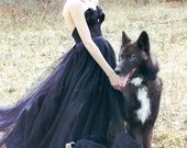 The Dark Princess Gown in Black lace and tulle 2 pc