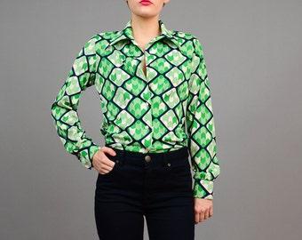 Vintage 70s Shirt Groovy Disco Button Up Shirt Op Art Fitted Blouse Green White Navy Medium M