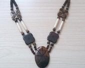 Reserved New Item Sale...Lovely Vintage Summery Bone & Wood Ivory/Brown Carved Neckace