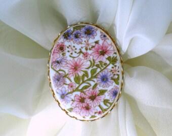 Vintage Ring 70s Adjustable Costume Jewelry Mod Flower Power Pink Purple Flowers