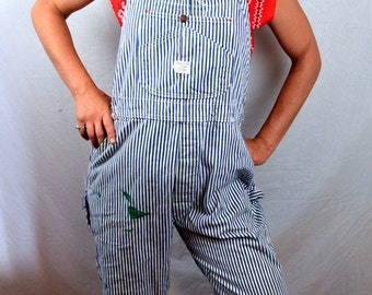 Vintage Distressed Railroader 1940s JC Penneys Big Mac Striped Union Made Railroad Sanforized Overalls Shorts